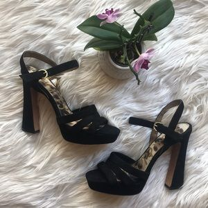 Sam Edelman Black Suede High Heel Sandals EUC!